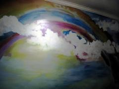 mural rainbow clouds