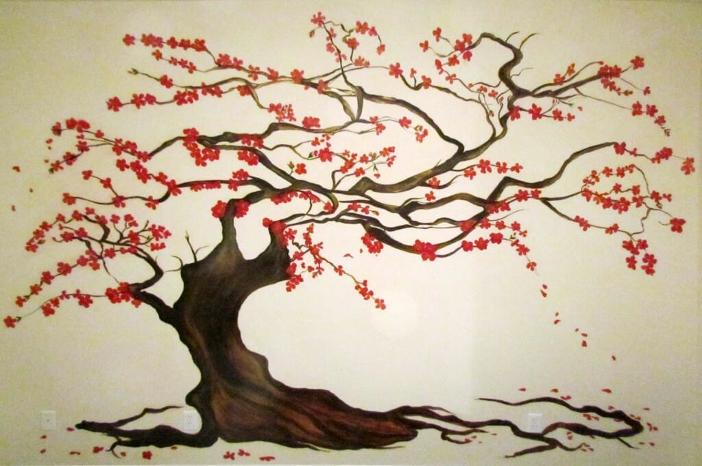 Murals decorative art calgary mural artist for Cherry blossom tree mural