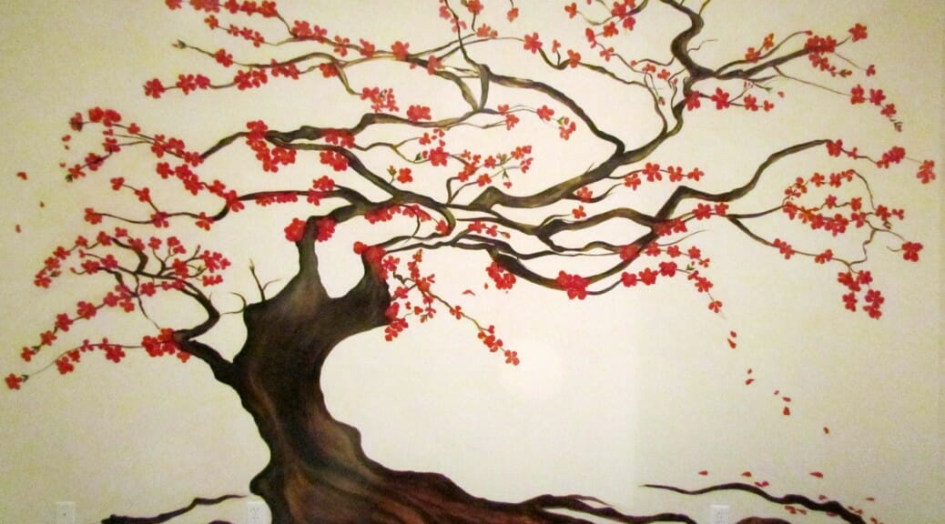 Murals decorative art calgary mural artist for Cherry blossom mural works