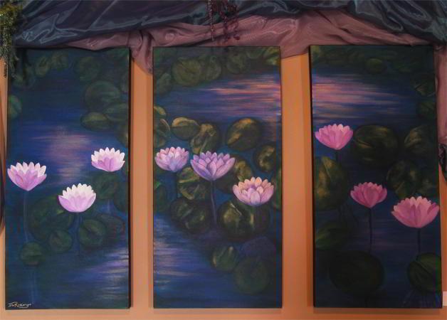 Waterlily Pond Triptych