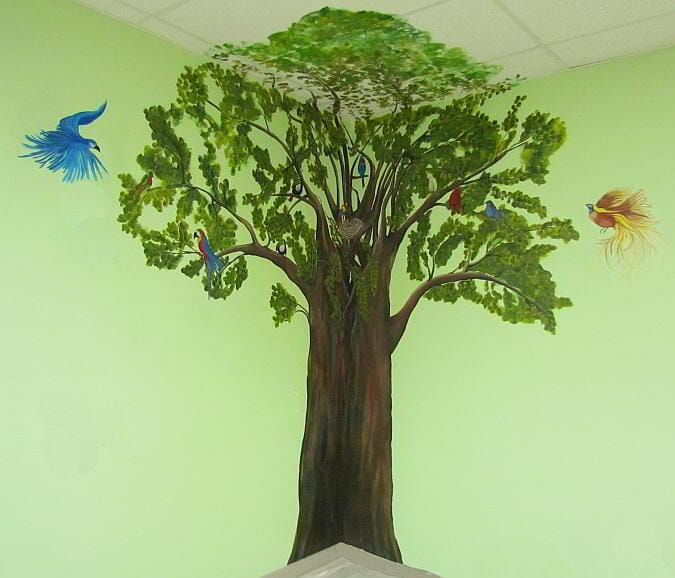 Tree with Tropical Birds