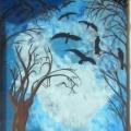 Tree & Crows Window Mural
