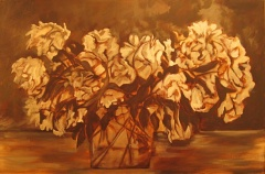 lush peony painting