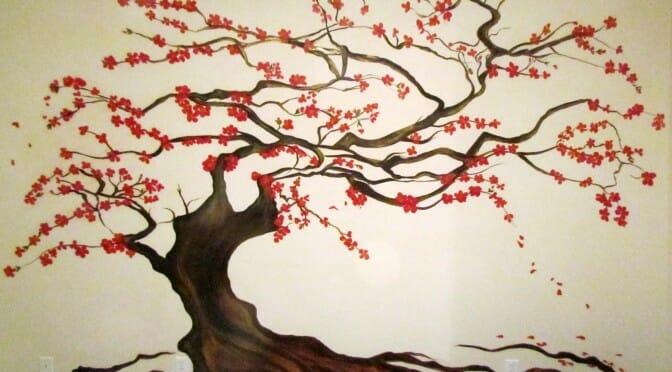 cherry tree bedroom mural