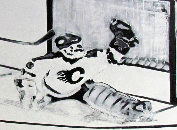 hockey mural goalie
